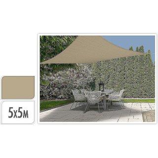 Sonnensegel viereckig 5x5m beige-sand Sonnenschutz, Sonnendach, Schattenspender