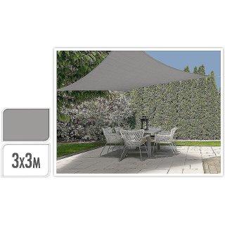 Sonnensegel viereckig 3x3m hellgrau-silber Sonnenschutz, Sonnendach, Schattenspender