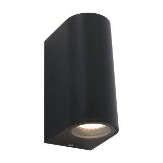 Steinhauer LED Außenwandleuchte rund Schwarz 2 flammig 1496ZW