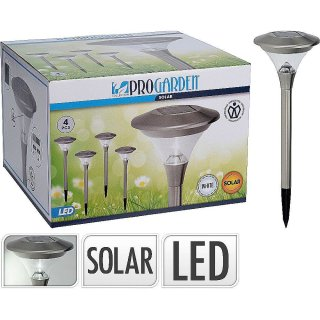 4er Set Solarlampe Solarleuchte aus Glas/Edelstahl