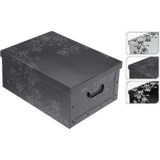 Aufbewahrungsbox Flower mit Deckel/Griff 51x37x24cm Allzweckkiste Pappbox Aufbewahrungskarton Flower weiß, grau, schwarz