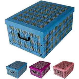 Aufbewahrungsbox Karo mit Deckel/Griff 51x37x24cm Allzweckkiste Pappbox Aufbewahrungskarton Karo rosa, lila oder blau