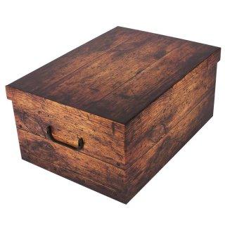 Aufbewahrungsbox Natur mit Deckel/Griff 51x37x24cm Allzweckkiste Pappbox Aufbewahrungskarton Holzbrett braun