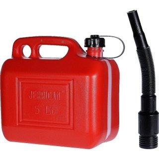 Benzinkanister, Reservekanister, Kraftstoffkanister, Dieselkanister rot 5Liter 26,5x14,5x26,0cm, Öffnung 3,2cm, mit Trichter und Schraubdeckel
