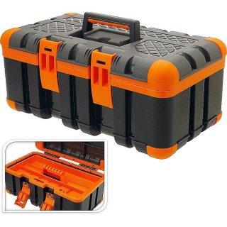 Werkzeugkasten Angelkoffer 50x30x24cm schwarz/orange Werkzeugkiste Werkzeugbox Werkzeugkoffer Kunststoffkiste
