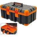 Werkzeugkasten Angelkoffer 50x30x24cm schwarz/orange...