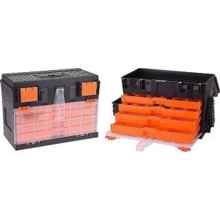 Werkzeugkasten Angelkoffer 45x26x32cm schwarz/orange Werkzeugkiste Werkzeugbox Werkzeugkoffer Kunststoffkiste