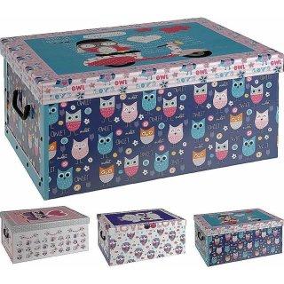 Aufbewahrungsbox Eule mit Deckel/Griff 51x37x24cm Allzweckkiste Pappbox Aufbewahrungskarton türkis