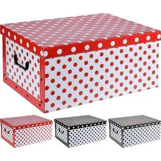 Aufbewahrungsbox Punkte mit Deckel/Griff 51x37x24cm Allzweckkiste Pappbox Aufbewahrungskarton rot, schwarz oder grau