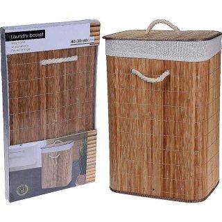 Wäschetonne Bambus braun 40x30x60cm Wäschekorb Wäschesammler Laundry