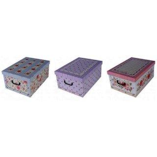 Aufbewahrungsbox Maxi Provence blau, rosa, lila mit Deckel/Griff 51x37x24cm Allzweckkiste Pappbox Aufbewahrungskarton Geschenkbox