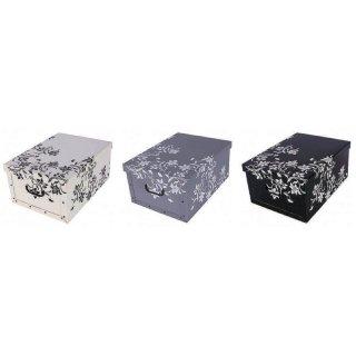Aufbewahrungsbox Maxi Flower grau, schwarz, weiß mit Deckel/Griff 51x37x24cm Allzweckkiste Pappbox Aufbewahrungskarton Geschenkbox