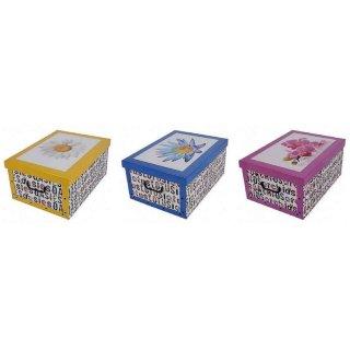 Aufbewahrungsbox Maxi Blumen rosa, blau, gelb mit Deckel/Griff 51x37x24cm Allzweckkiste Pappbox Aufbewahrungskarton Geschenkbox