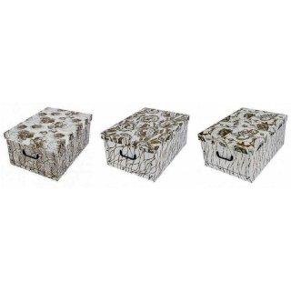 Aufbewahrungsbox Maxi Retro Gold mit Deckel/Griff 51x37x24cm Allzweckkiste Pappbox Aufbewahrungskarton Geschenkbox