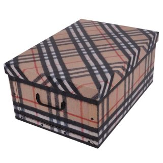 Aufbewahrungsbox Maxi Tartan Karo beige, rot, blau mit Deckel/Griff 51x37x24cm Allzweckkiste Pappbox Aufbewahrungskarton Geschenkbox