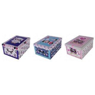 Aufbewahrungsbox Maxi Eule lila, türkis, rosa mit Deckel/Griff 51x37x24cm Allzweckkiste Pappbox Aufbewahrungskarton Geschenkbox