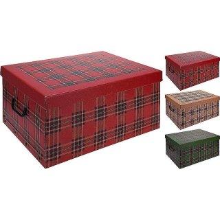 Aufbewahrungsbox Midi Tartan Karo beige, rot, grün mit Deckel/Griff 37x30x16cm Allzweckkiste Pappbox Aufbewahrungskarton Geschenkbox