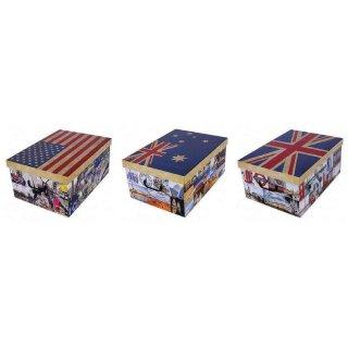 Aufbewahrungsbox Midi Flags America, England, Australia mit Deckel/Griff 37x30x16cm Allzweckkiste Pappbox Aufbewahrungskarton Geschenkbox