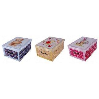Aufbewahrungsbox Mini Bärchen blau, rosa, creme mit Deckel/Griff 33x25x16cm Allzweckkiste Pappbox Aufbewahrungskarton Geschenkbox