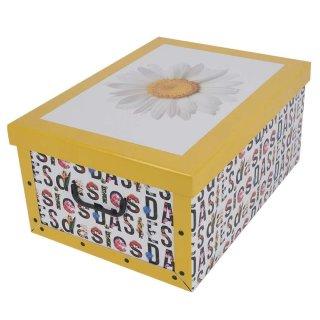 Aufbewahrungsbox Maxi Blumen gelb mit Deckel/Griff 51x37x24cm Allzweckkiste Pappbox Aufbewahrungskarton Geschenkbox