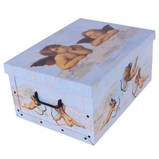 Aufbewahrungsbox Maxi Engel blau mit Deckel/Griff 51x37x24cm Allzweckkiste Pappbox Aufbewahrungskarton Geschenkbox