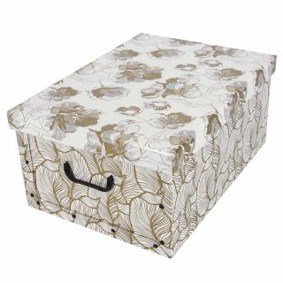 Aufbewahrungsbox Maxi Retro Gold Cherry mit Deckel/Griff 51x37x24cm Allzweckkiste Pappbox Aufbewahrungskarton Geschenkbox