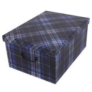 Aufbewahrungsbox Maxi Tartan Karo blau mit Deckel/Griff 51x37x24cm Allzweckkiste Pappbox Aufbewahrungskarton Geschenkbox