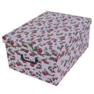 Aufbewahrungsbox Maxi Fruit Cherry mit Deckel/Griff 51x37x24cm Allzweckkiste Pappbox Aufbewahrungskarton Geschenkbox