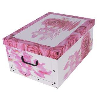 Aufbewahrungsbox Maxi Rose Pink mit Deckel/Griff 51x37x24cm Allzweckkiste Pappbox Aufbewahrungskarton Geschenkbox