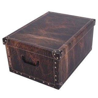 Aufbewahrungsbox Maxi Leather braun mit Deckel/Griff 51x37x24cm Allzweckkiste Pappbox Aufbewahrungskarton Geschenkbox