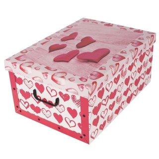Aufbewahrungsbox Maxi Love rot mit Deckel/Griff 51x37x24cm Allzweckkiste Pappbox Aufbewahrungskarton Geschenkbox
