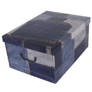 Aufbewahrungsbox Maxi Patchwork Jeans mit Deckel/Griff 51x37x24cm Allzweckkiste Pappbox Aufbewahrungskarton Geschenkbox