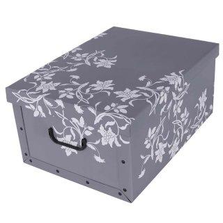 Aufbewahrungsbox Midi Flower grau mit Deckel/Griff 37x30x16cm Allzweckkiste Pappbox Aufbewahrungskarton Geschenkbox