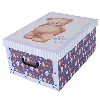 Aufbewahrungsbox Midi Bärchen blau mit Deckel/Griff 37x30x16cm Allzweckkiste Pappbox Aufbewahrungskarton Geschenkbox