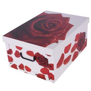 Aufbewahrungsbox Midi Rose Rot mit Deckel/Griff 37x30x16cm Allzweckkiste Pappbox Aufbewahrungskarton Geschenkbox