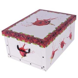 Aufbewahrungsbox Midi Rose Red Passion mit Deckel/Griff 37x30x16cm Allzweckkiste Pappbox Aufbewahrungskarton Geschenkbox