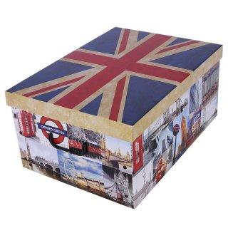 Aufbewahrungsbox Midi Flags England mit Deckel/Griff 37x30x16cm Allzweckkiste Pappbox Aufbewahrungskarton Geschenkbox