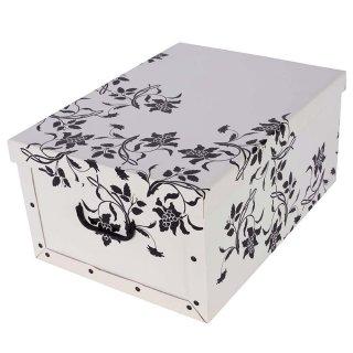 Aufbewahrungsbox Mini Flower weiß mit Deckel/Griff 33x25x16cm Allzweckkiste Pappbox Aufbewahrungskarton Geschenkbox
