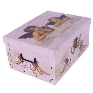 Aufbewahrungsbox Mini Engel rosa mit Deckel/Griff 33x25x16cm Allzweckkiste Pappbox Aufbewahrungskarton Geschenkbox