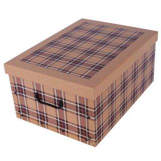 Aufbewahrungsbox Mini Tartan Karo beige mit Deckel/Griff 33x25x16cm Allzweckkiste Pappbox Aufbewahrungskarton Geschenkbox