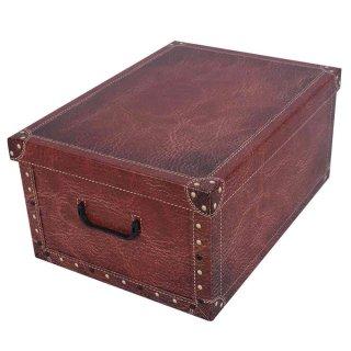 Aufbewahrungsbox Mini Leather rot mit Deckel/Griff 33x25x16cm Allzweckkiste Pappbox Aufbewahrungskarton Geschenkbox