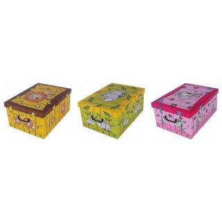 Aufbewahrungsbox Midi Zoo Nashorn, Zebra, Löwe mit Deckel/Griff 37x30x16cm Allzweckkiste Pappbox Aufbewahrungskarton Geschenkbox