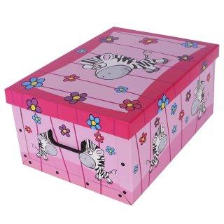 Aufbewahrungsbox Midi Zoo Zebra mit Deckel/Griff 37x30x16cm Allzweckkiste Pappbox Aufbewahrungskarton Geschenkbox