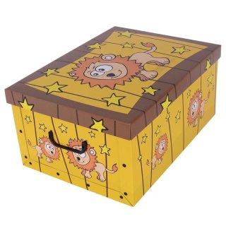 Aufbewahrungsbox Midi Zoo Löwe mit Deckel/Griff 37x30x16cm Allzweckkiste Pappbox Aufbewahrungskarton Geschenkbox